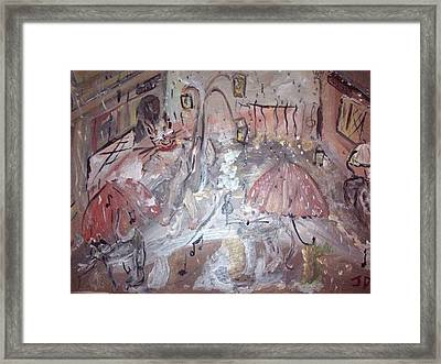 Framed Print featuring the painting Cats Singing In The Rain by Judith Desrosiers