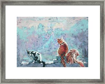 Cats. Washed By Rain Framed Print by Anastasija Kraineva