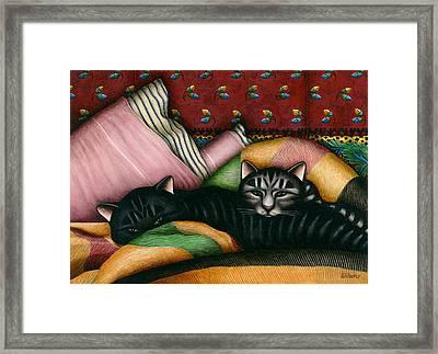 Cats With Pillow And Blanket Framed Print