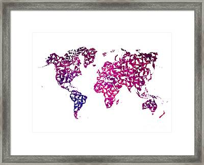 Cats World Map Purple Framed Print by Justyna JBJart