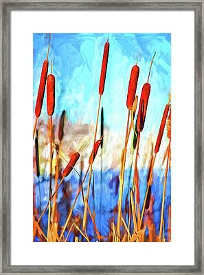 Cattail Dance - Paint Framed Print