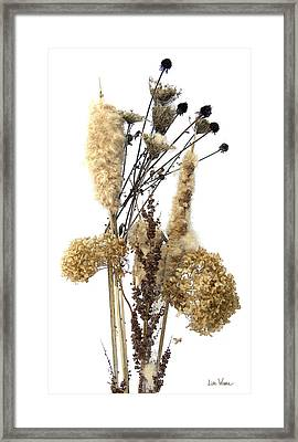 Framed Print featuring the digital art Cattails And November Flowers II by Lise Winne