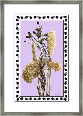 Framed Print featuring the digital art Cattails And November Flowers by Lise Winne