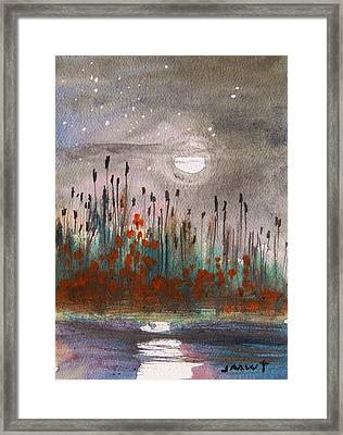Cattails And Stars Framed Print by John Williams