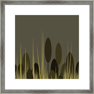 Cattails In The Rain Framed Print