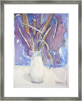 Cattails On White Framed Print by Dorothy Herron