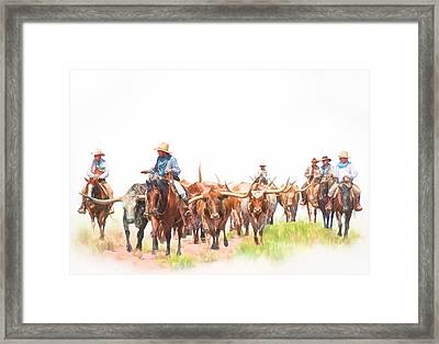 Cattle Drive Framed Print by David and Carol Kelly