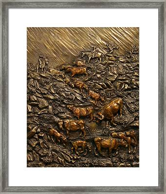 Framed Print featuring the sculpture Cattle Drive by Dawn Senior-Trask