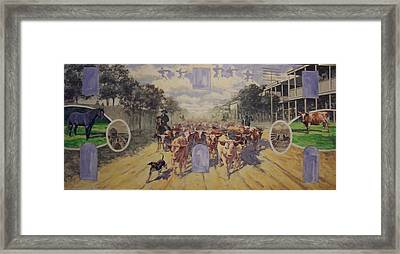 Cattle Drive Down Marion Avenue 1903 Sketch Framed Print by Michael Vires