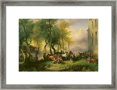 Cattle Market On Maria Plain Framed Print by Friedrich Gauermann