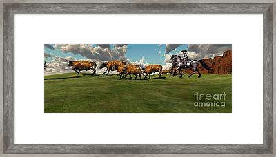 Cattle Roundup Framed Print by Corey Ford