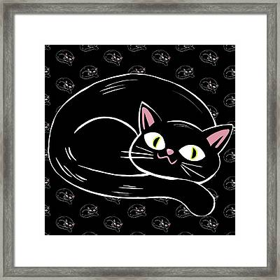 Cattywampus Black Cat Pattern Framed Print by Little Bunny Sunshine