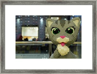 Framed Print featuring the photograph Caturday In Legoville by Lora Lee Chapman