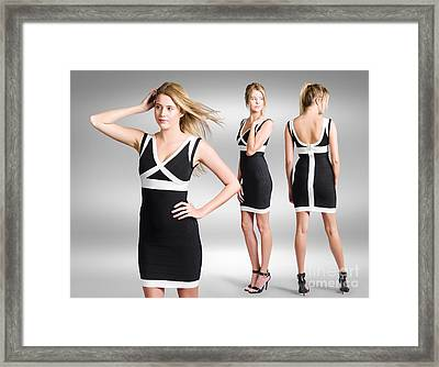 Catwalk And Runway Model At Fashion Week Framed Print