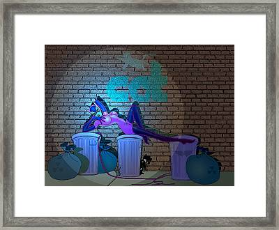 Framed Print featuring the painting Catwoman In The Spotlight by Lynn Rider