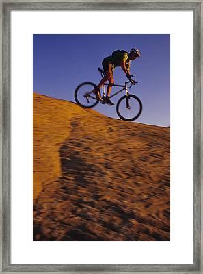 Caucasian Male Mountain Biking Framed Print by Bobby Model