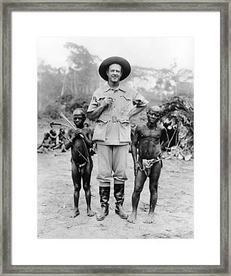 Caucasian Man With Two African Pigmy Framed Print by Everett