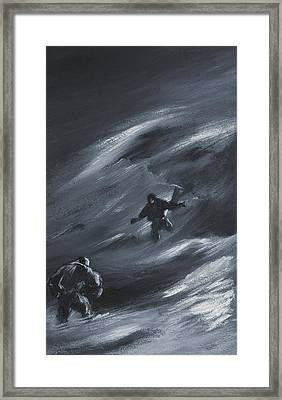 Caught In A Blizzard Framed Print by Edward Adrian Wilson