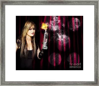 Caught In The Act Of Setting The Stage On Fire Framed Print