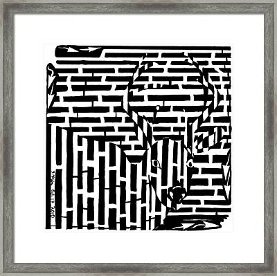 Caught In The Headlights Maze Framed Print by Yonatan Frimer Maze Artist