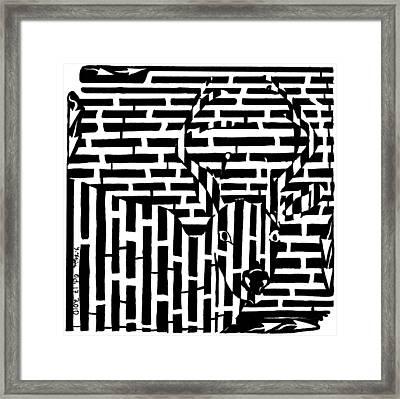Caught In The Headlights Maze Framed Print by Yonatan Frimer Maze Artist