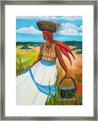 Framed Print featuring the painting Caught Some Shrimp by Diane Britton Dunham