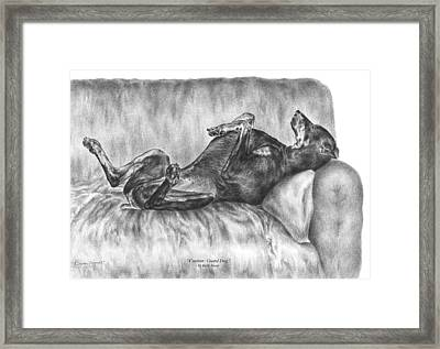 Caution Guard Dog - Doberman Pinscher Art Print Framed Print by Kelli Swan