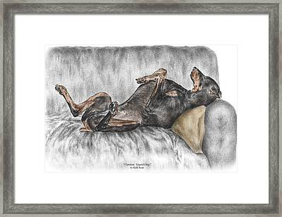 Caution Guard Dog - Doberman Pinscher Print Color Tinted Framed Print
