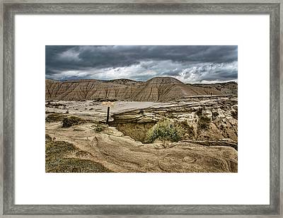 Caution - Steep Cliffs - Toadstool Geologic Park Framed Print by Nikolyn McDonald