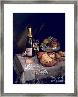 Cava Y Queso Framed Print by Mai Griffin
