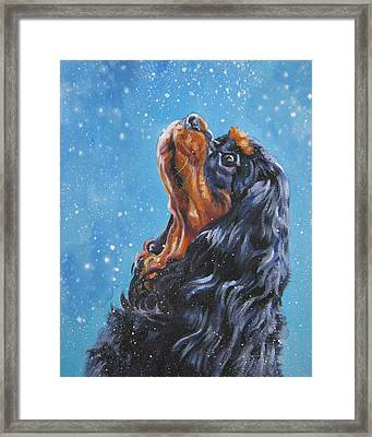 Cavalier King Charles Spaniel Black And Tan In Snow Framed Print