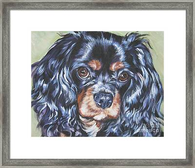 Cavalier King Charles Spaniel Black And Tan Framed Print