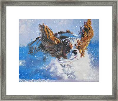Cavalier King Charles Spaniel Blenheim In Snow Framed Print by Lee Ann Shepard