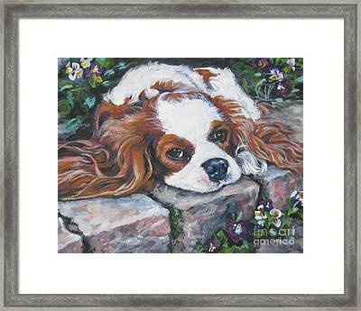 Cavalier King Charles Spaniel In The Pansies  Framed Print