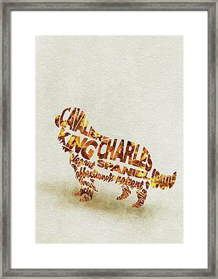 Cavalier King Charles Spaniel Watercolor Painting / Typographic Art Framed Print