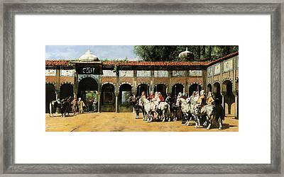 Cavalieri In Cortile Framed Print by Guido Borelli