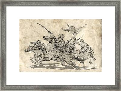 Cavalry Charge Gettysburg Sketch Framed Print by Randy Steele