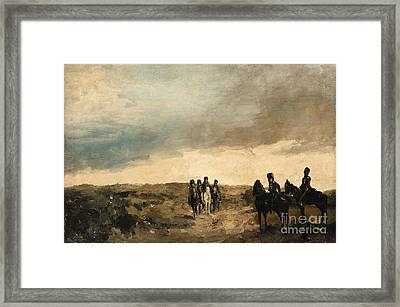 Cavalry Men Maneuvering In The Dunes Framed Print