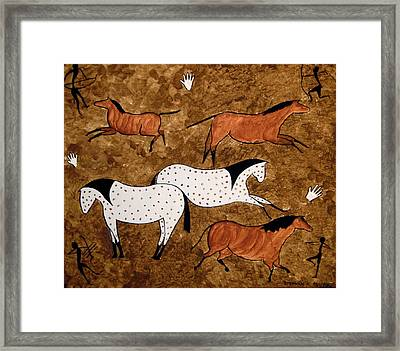 Framed Print featuring the painting Cave Horses by Stephanie Moore