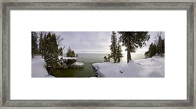 Cave Point Panorama Framed Print by Richard Steinberger