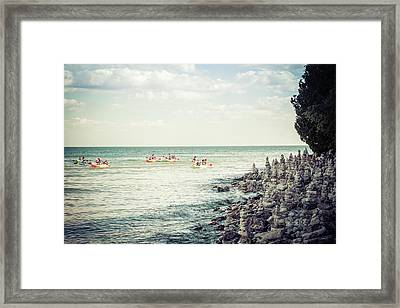 Framed Print featuring the photograph Cave Point Rock Formations by Joel Witmeyer