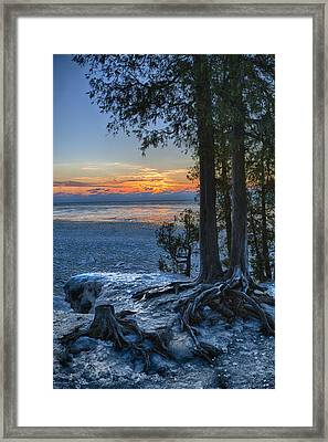 Cave Point Winter Framed Print