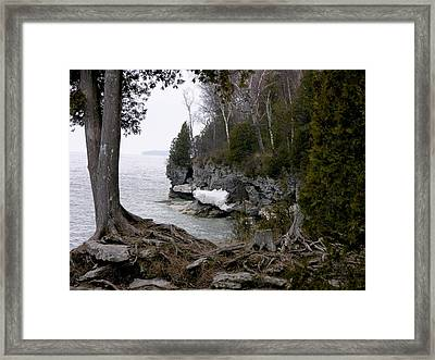 Cave Point Wisconsin Framed Print by Keith Stokes