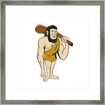 Caveman Neanderthal Man Holding Club Cartoon Framed Print