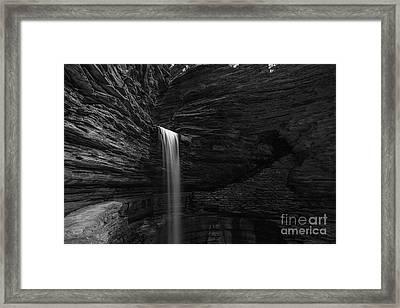 Cavern Cascade Waterfall Bw  Framed Print by Michael Ver Sprill