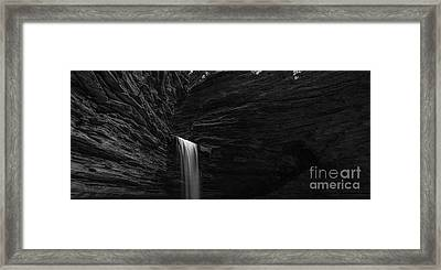 Cavern Cascade Waterfall Panorama Bw Framed Print by Michael Ver Sprill