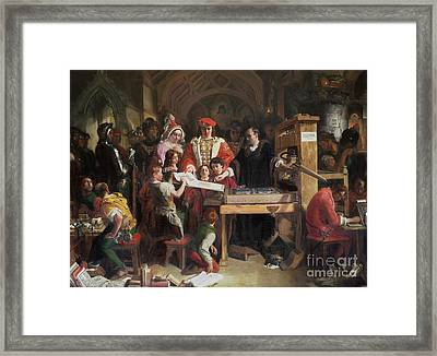 Caxton Showing The First Specimen Of His Printing Framed Print by MotionAge Designs