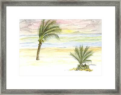Framed Print featuring the digital art Cayman Beach by Darren Cannell