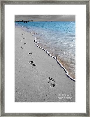 Cayman Footprints Color Splash Black And White Framed Print by Shawn O'Brien