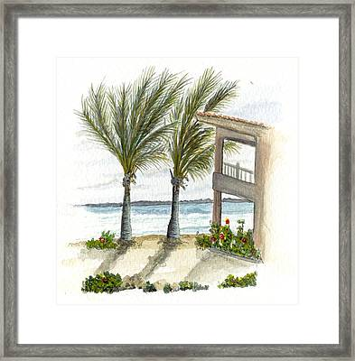 Framed Print featuring the digital art Cayman Hotel by Darren Cannell